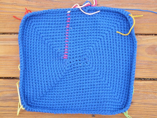 royal blue crochet basket