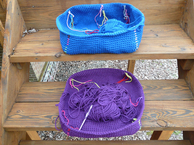 crochet baskets for a cubby