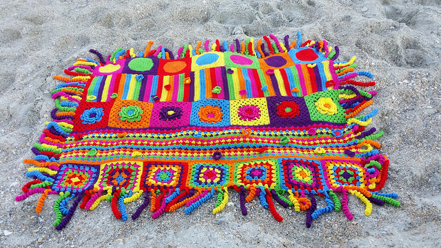 a tricked out crochet groovyghan at Wrightsville Beach