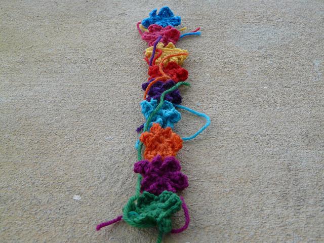 six petal crochet flowers one row crochet shawl