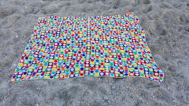 a crochet hilbert curve afghan at Wrightsville Beach