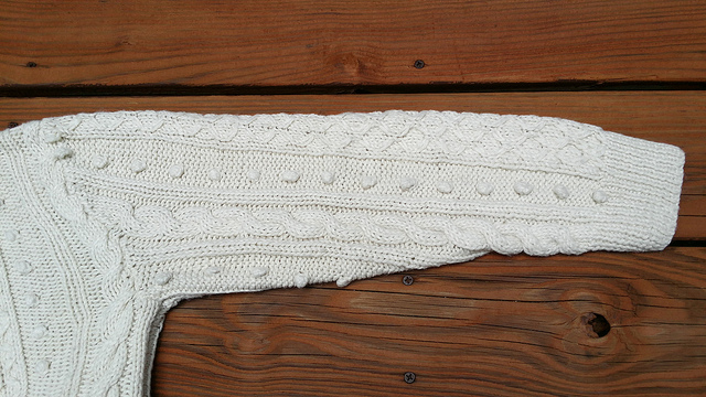 hand knit sweater, crochetbug, knitted bobbles, knit bobbles, knitted cables, knit cables
