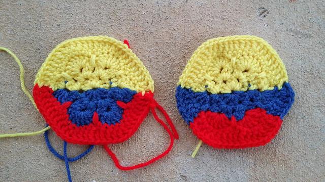 crochet hexagons based on the Columbian flag