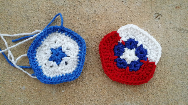 The Honduras and Chile crochet pentagons for a crochet soccer ball