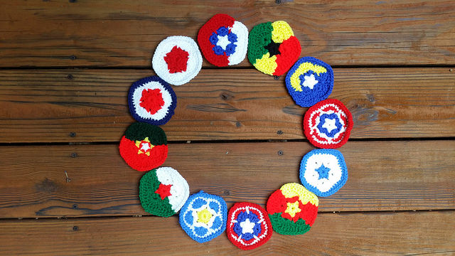 Twelve crochet pentagons