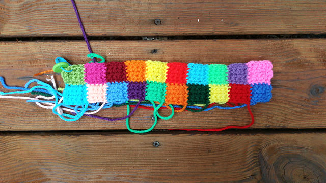 two rows of crochet squares
