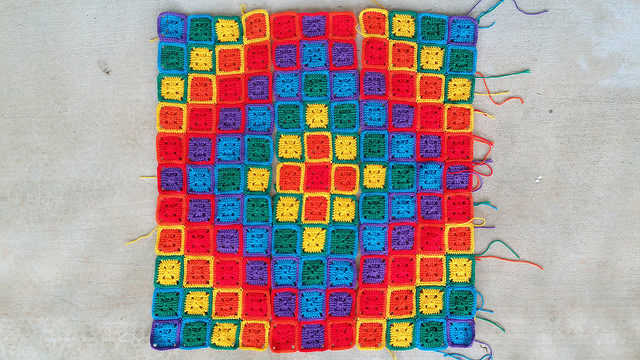 three crochet panels of crochet squares done during my close encounter
