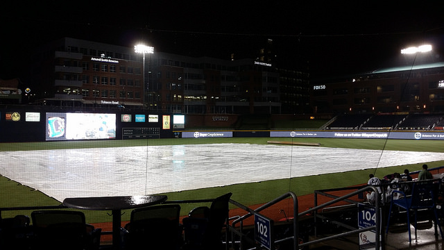 Sometimes it rains at the Durham Bulls Athletic Park, August 9, 2014