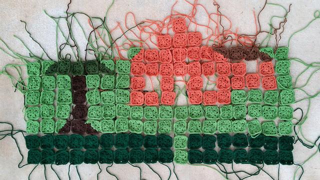 crochet granny square picture blanket