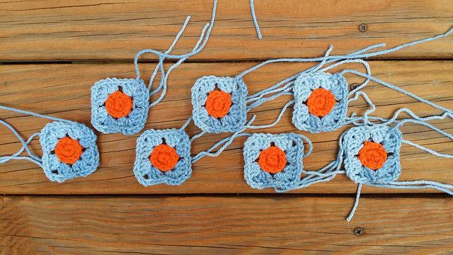 seven crochet squares