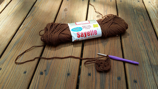 brown vintage yarn for crochet granny squares on the last day of summer