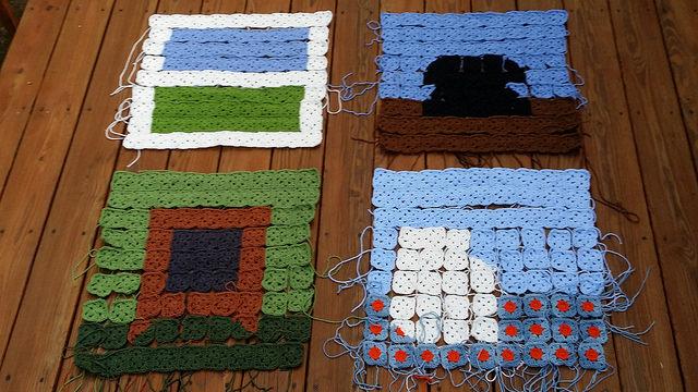 The piecing begins on the corner crochet panels