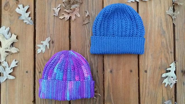 two crochet hats crochet caps