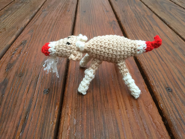 A sideview of my latest crochet goat