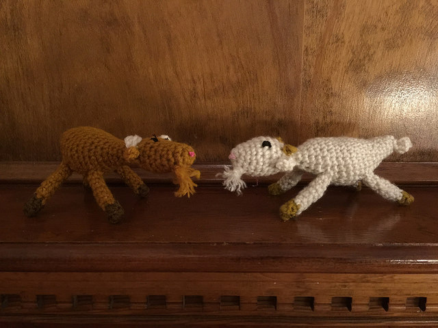 Crochet goats on the mantle