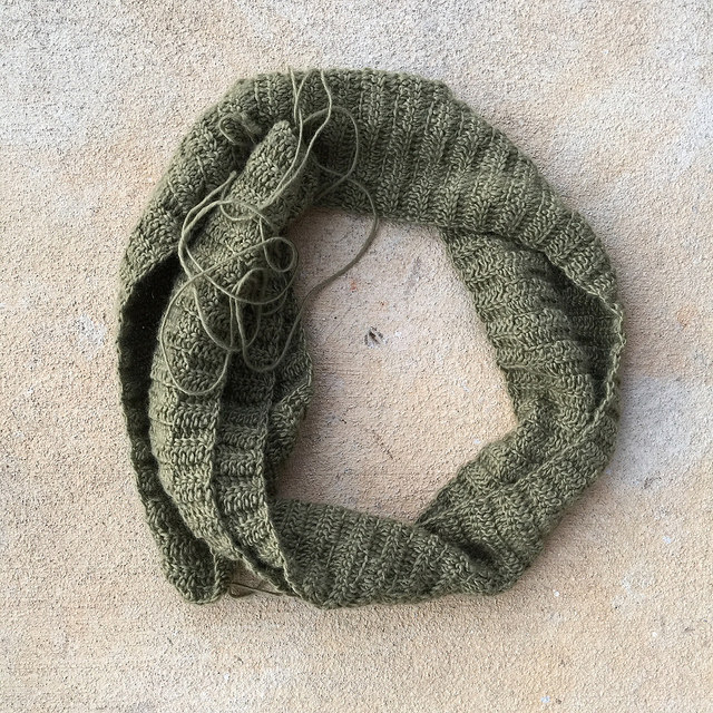 The nearly ready to wear crochet green scarf