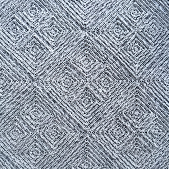 textured crochet square detail
