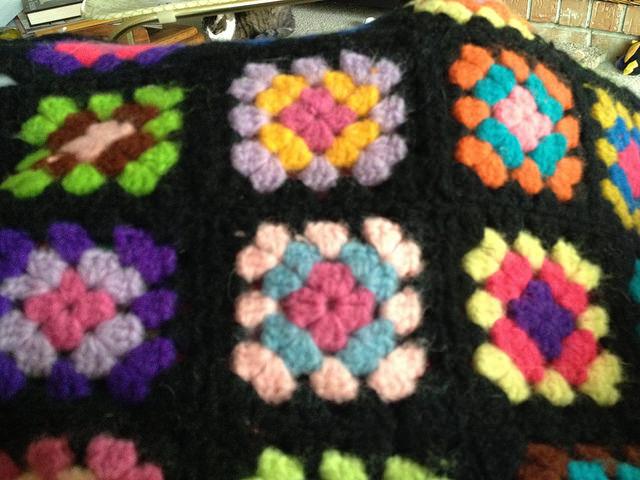 scrap granny square afghan detail