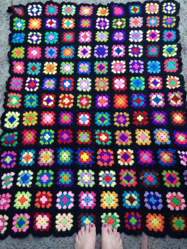 An example of our mothers' footsteps:Joan Noble's granny square afghan