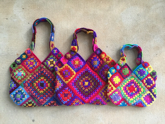 three granny square crochet bags