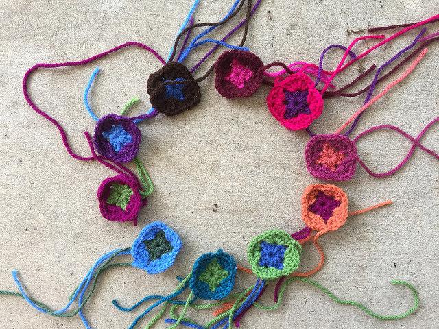 ten crochet granny squares