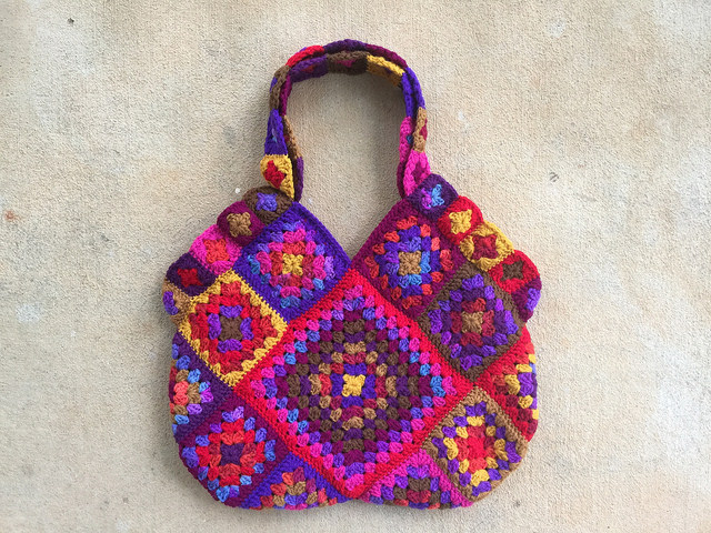 granny square crochet purse