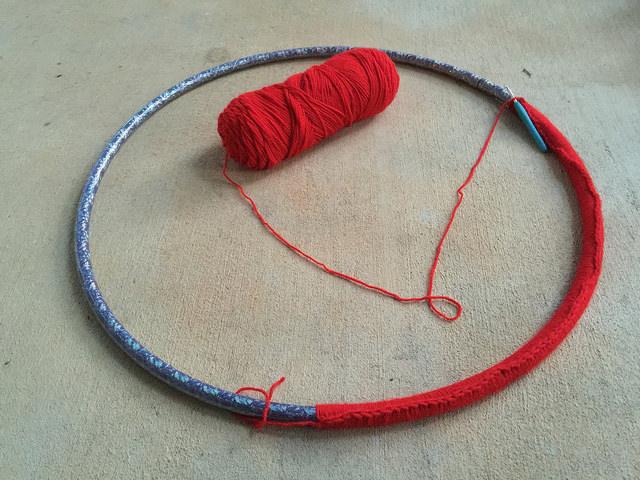 crocheting around a hoop
