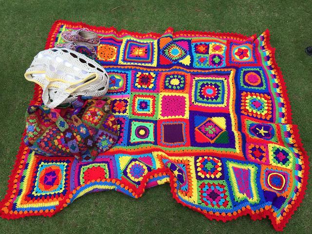 granny square crochet blanket and crochet purse