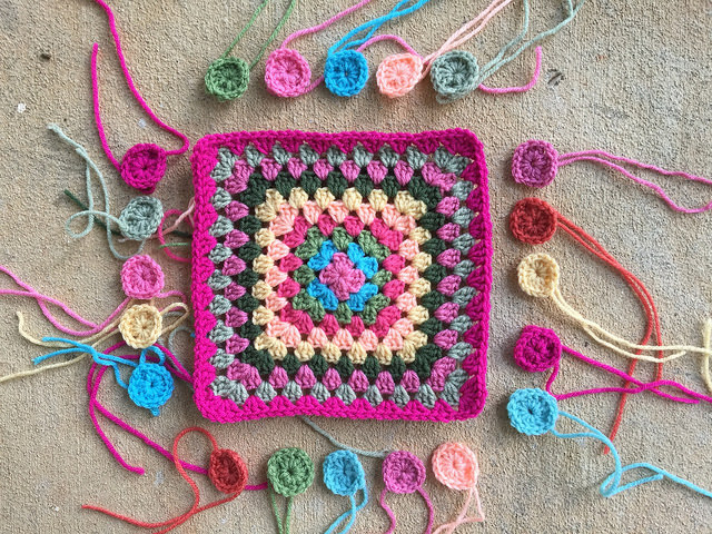 Granny squares for a crochet purse on a practically perfect Thursday
