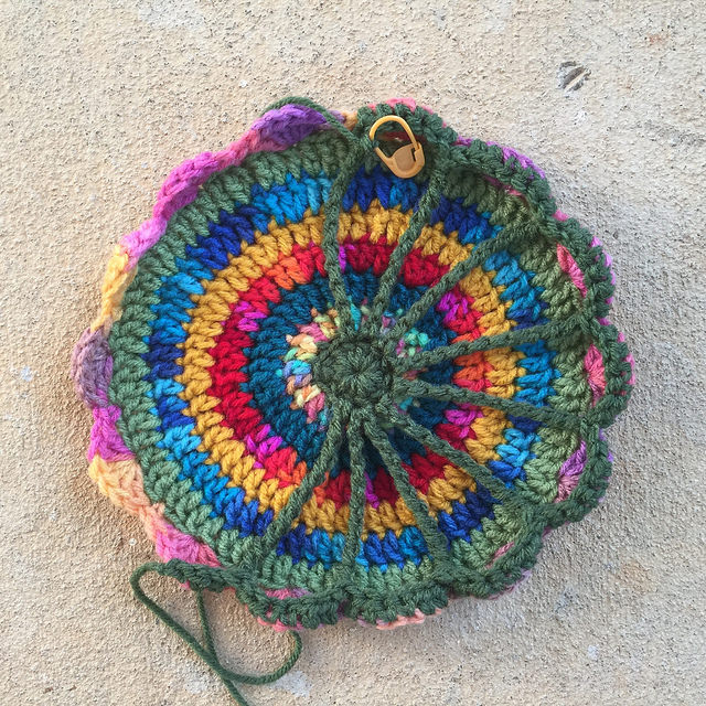 ninth round of a crochet mandala