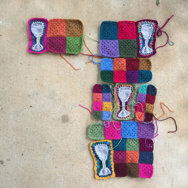 four water goblet crochet motifs with assorted sizes of granny squares