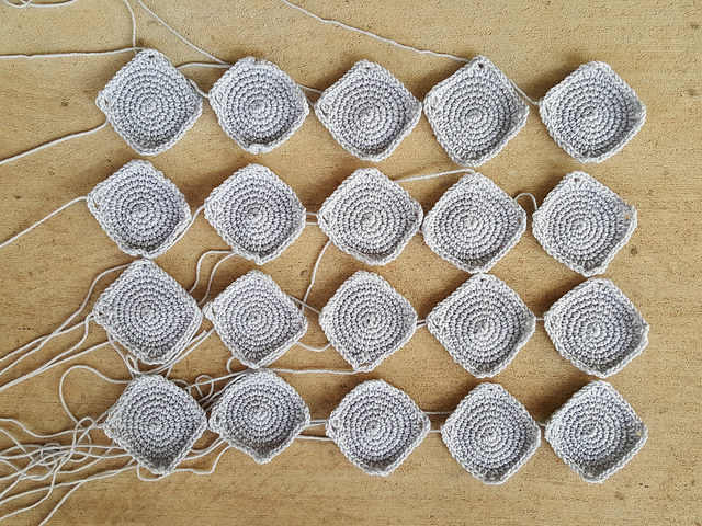 twenty crochet granny squares