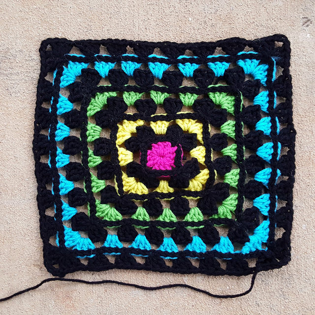 A granny square motif that was one of the UFOs/WIPs I found