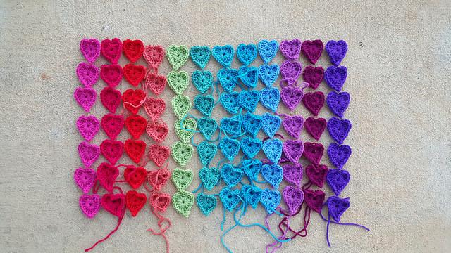 My crochet journey: a rainbow of boho heart centers