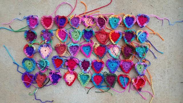 crochet boho hearts, crochetbug, crochet hearts, crochet motifs, multicolor crochet