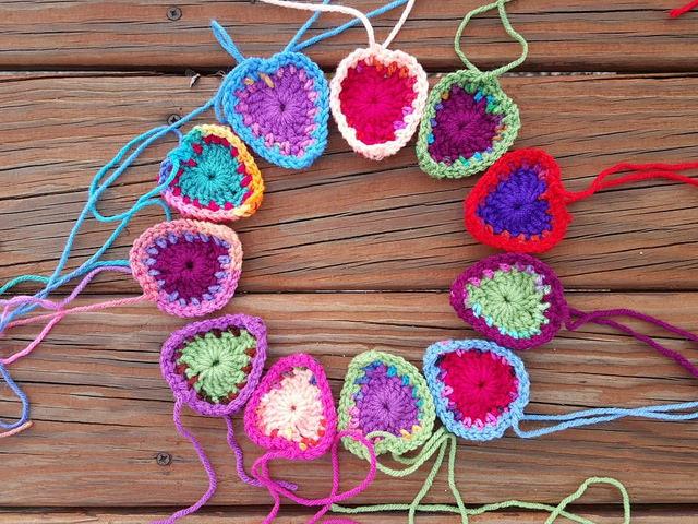 eleven boho crochet hearts
