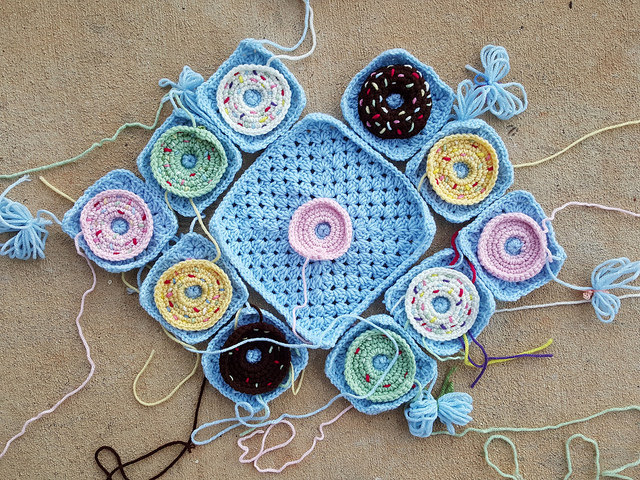 large and small crochet donut granny squares for a crochet purse