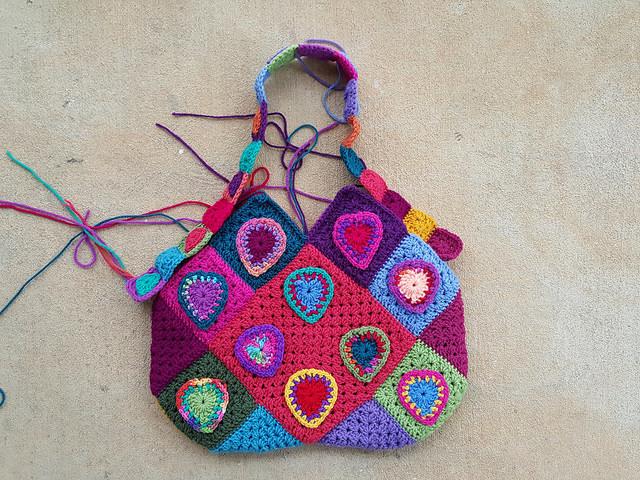 crochet heart granny square purse