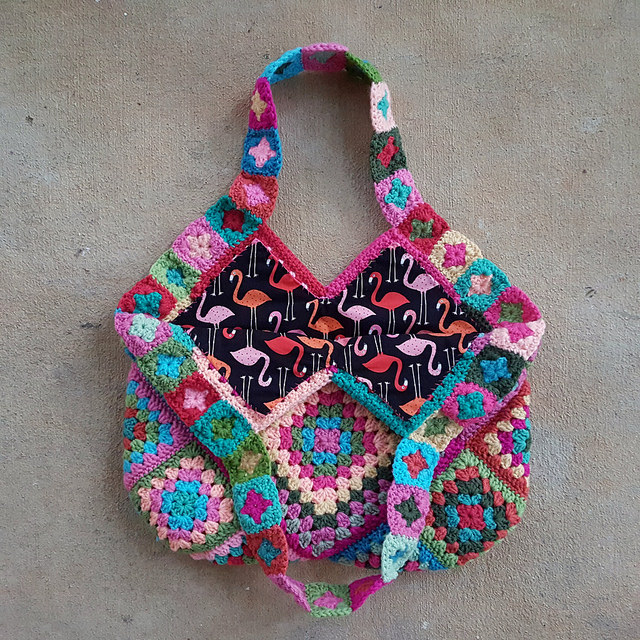 granny square crochet bag with flamingo fabric lining