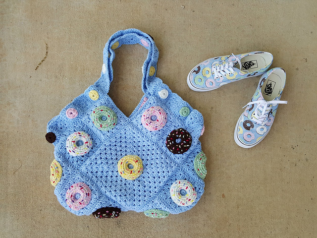 crochet donut granny square purse with coordinating vans