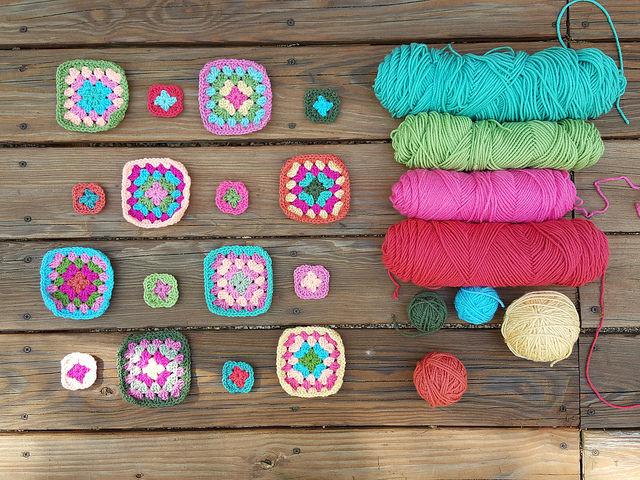granny squares and yarn