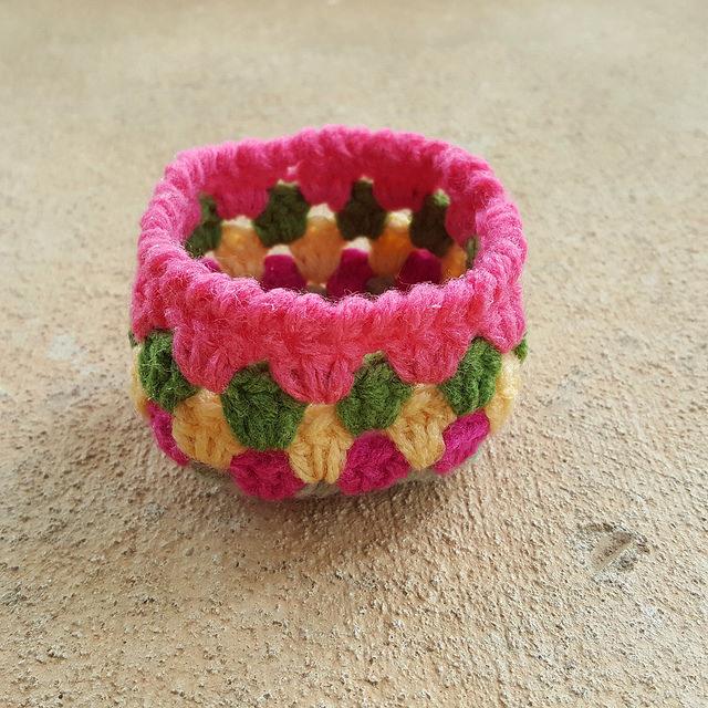 stiffened crochet basket