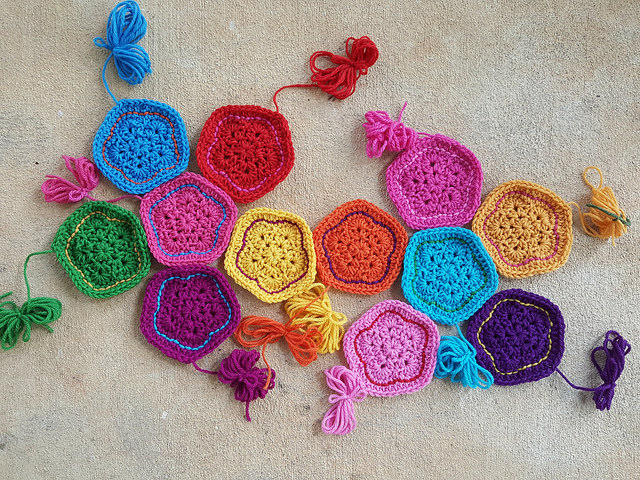 A dozen crochet pentagons for the second in a series of dodecahedrons