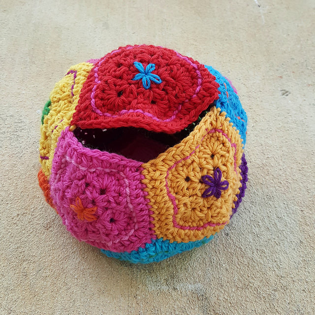 a wool crochet dodecahedron made of crochet pentagons ready to be felted