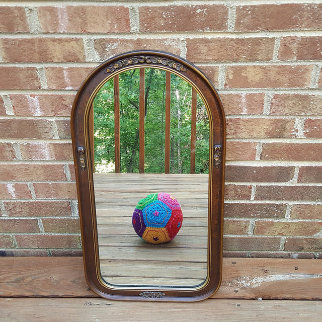 a felted crochet dodecahedron takes a selfie