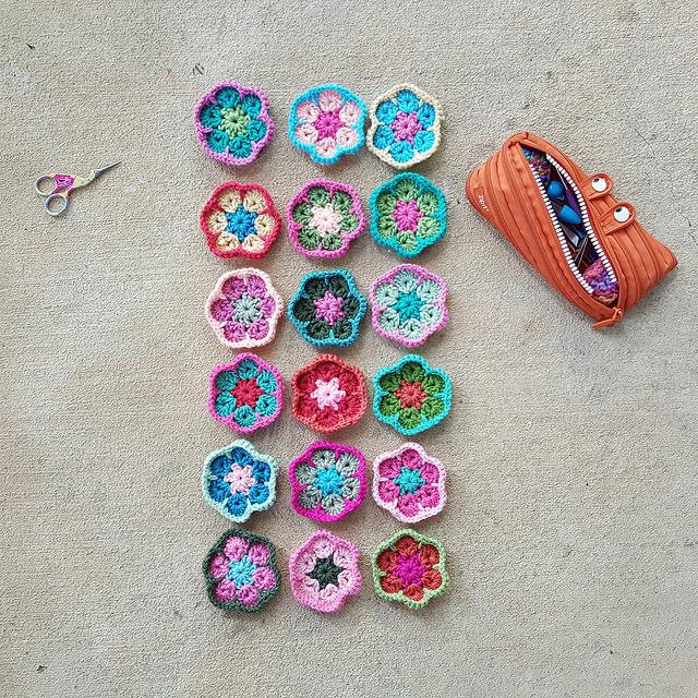 eighteen future crochet hexagon motifs for a crochet soccer ball
