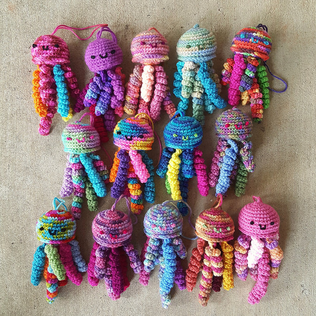 A bloom of crochet jellyfish