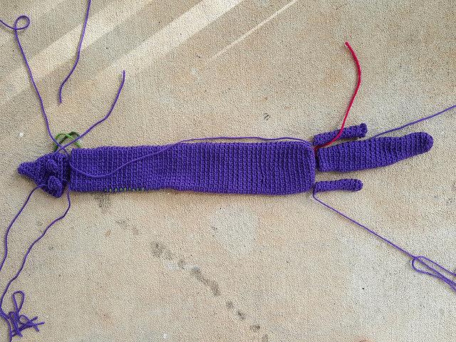 A crochet mink / vinx ready for assembly