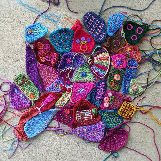 pieces with embroidery for a crazy quilt crochet afghan