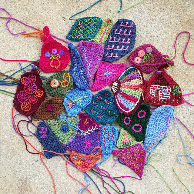 embroidery on crochet pieces